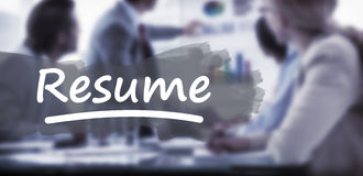 Composite image of word resume underlined. Word resume underlined against young business people in board room meeting stock photo