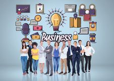 Composite image of worker group against business items stock image