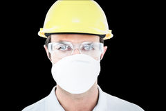 Composite image of worker wearing protective mask and glasses Stock Photography