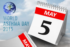 Composite image of world asthma day. World asthma day against cloudy sky Stock Photography