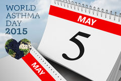 Composite image of world asthma day. World asthma day against cloudy sky Stock Photos