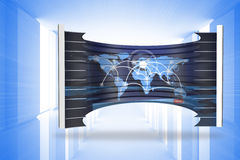 Composite image of world map on abstract screen Stock Photo