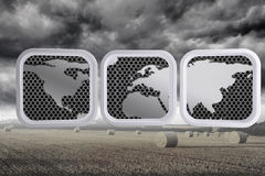 Composite image of world map on abstract screen Royalty Free Stock Photography