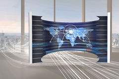 Composite image of world map on abstract screen Royalty Free Stock Images