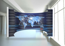Composite image of world map on abstract screen Stock Photos
