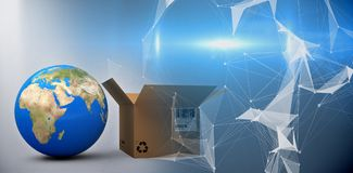 Composite image of world map and brown cardboard box Stock Image