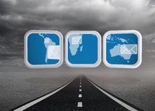 Composite image of world map and email on abstract screen Royalty Free Stock Images