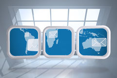 Composite image of world map and email on abstract screen Royalty Free Stock Photography