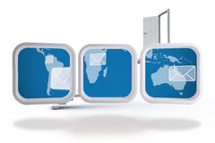 Composite image of world map and email on abstract screen Royalty Free Stock Photos
