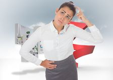 Composite image of worried businesswoman Stock Photography