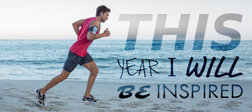 Composite image of this year i will be inspired. This year i will be inspired against side view of handsome fit man running Royalty Free Stock Images