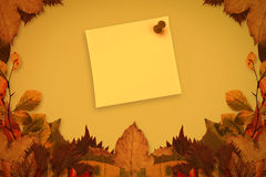 Composite image of yellow pinned adhesive note Stock Photo