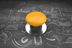 Composite image of yellow push button Royalty Free Stock Photography