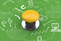Composite image of yellow push button Royalty Free Stock Photo