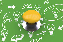 Composite image of yellow push button Stock Photography