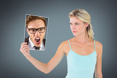 Composite image of young angry businessman shouting at camera Stock Photography