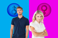 Composite image of young blonde not listening to boyfriend Royalty Free Stock Photography