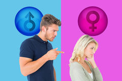 Composite image of young couple having an argument Stock Image