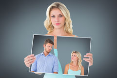 Composite image of young couple making silly faces Stock Images