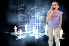 Composite image of young female shouting Royalty Free Stock Photography