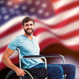 Composite image of young man in wheelchair Stock Photos