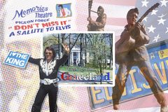 Composite images of Elvis Presley with postcard reading Greetings from Graceland stock photos