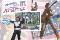 Composite images of Elvis Presley with postcard reading Greetings from Memphis royalty free stock images