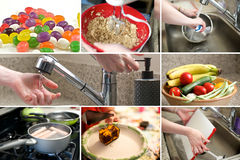Composite of kitchen and food images. In a grid Royalty Free Stock Photography