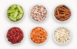 Composite with many different varieties of ingredients Royalty Free Stock Photos