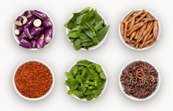 Composite with many different varieties of ingredients Royalty Free Stock Images