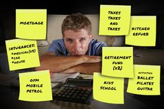 Composite of monthly payments expenses and bills written in yellow post it notes with stressed and worried man overwhelmed calcula. Ting living cost and budget stock image