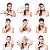 Composite of negative emotions and gestures with girl Stock Images