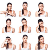 Composite of negative emotions and gestures with girl. On white Royalty Free Stock Photos
