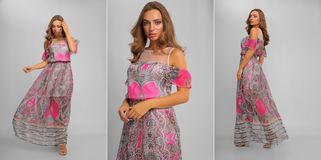 Composite photo of elegant woman in long colorful summer dress royalty free stock photo