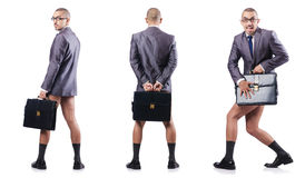 The composite photo of naked businessman on white Royalty Free Stock Photography