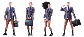 The composite photo of naked businessman on white Stock Image
