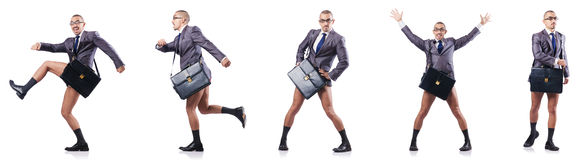 The composite photo of naked businessman on white Royalty Free Stock Photo