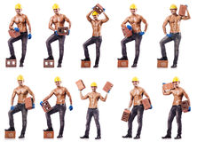 The composite photo of naked man with bricks Royalty Free Stock Images