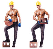 The composite photo of naked man with bricks Royalty Free Stock Photography