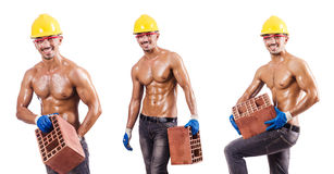The composite photo of naked man with bricks Royalty Free Stock Image