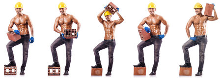 The composite photo of naked man with bricks Stock Photo