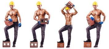 The composite photo of naked man with bricks Stock Image