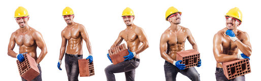 The composite photo of naked man with bricks Stock Photography