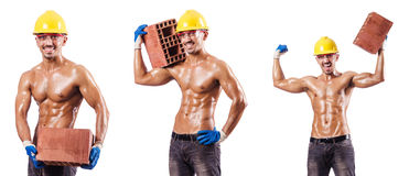 The composite photo of naked man with bricks Royalty Free Stock Photo