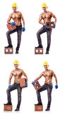 Composite photo of naked man with bricks Royalty Free Stock Image
