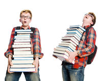 The composite photo of student with books Stock Photos