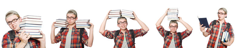 The composite photo of student with books Royalty Free Stock Photography
