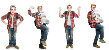 The composite photo of student with books Royalty Free Stock Photos