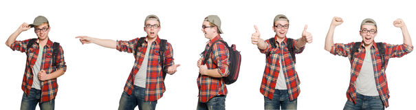 The composite photo of student with books Royalty Free Stock Image