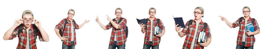 The composite photo of student with books Royalty Free Stock Photo